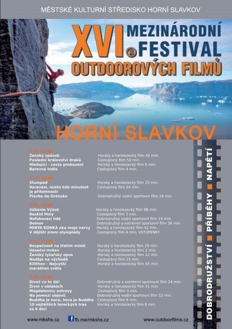 XVI.Mezinárodní festival outdoorových filmů