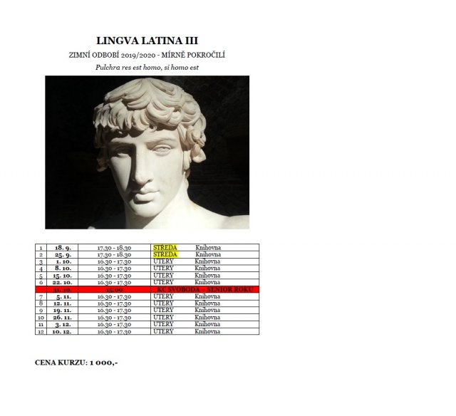 Lingva Latina III - jazykový kurz pro mírně pokročilé